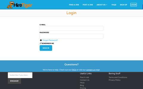 Screenshot of Login Page hiretiger.com - Login - Jobs in Knoxville - HireTiger - captured Oct. 23, 2014