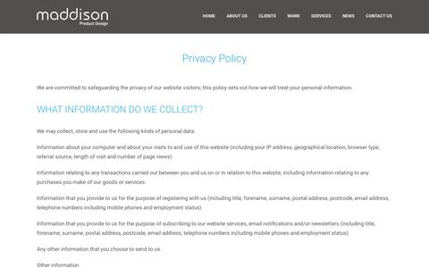 Screenshot of Privacy Page maddison.co.uk - Privacy Policy - Maddison - captured Feb. 4, 2016