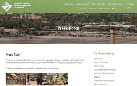 Screenshot of Press Page renoairport.com - Press Room | Reno-Tahoe International Airport - captured Feb. 16, 2016