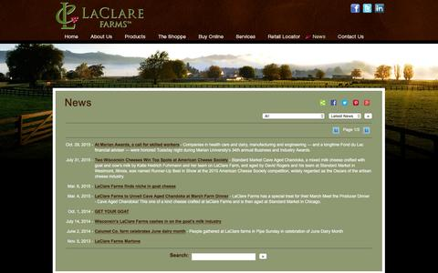 Screenshot of Press Page laclarefarm.com - LaClare Farms - Award winning Dairy Goat Farm » News - captured March 3, 2016