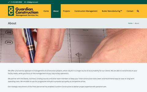 Screenshot of About Page gcmsi.com - About – Guardian Construction - captured Sept. 30, 2018