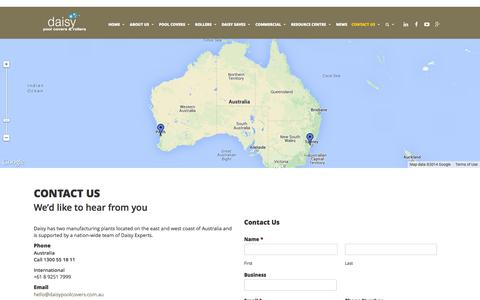 Screenshot of Contact Page daisypoolcovers.com.au - Contact Us | Daisy Pool Covers & Rollers - captured Sept. 30, 2014