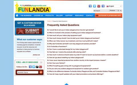 Screenshot of FAQ Page funlandiaplaygrounds.com - Indoor playground business FAQ | Funlandia playground systems - captured Oct. 6, 2014