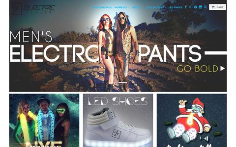Screenshot of Home Page electricstyles.com - Electric Styles gives voltage to a new generation of trendsetters through our artfully handcrafted, light up apparel. - captured Dec. 8, 2015