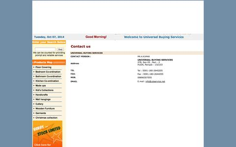 Screenshot of Contact Page ubservice.net - SOURCING AGENT, BUYING AGENT OF HOME FURNISHING ITEMS ,UB Service - captured Oct. 7, 2014