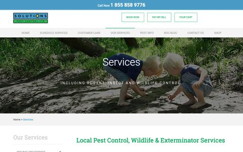 Screenshot of Services Page pestsolutions.ca - Services - Local Pest Control // Solutions Pest Control - captured Oct. 18, 2018