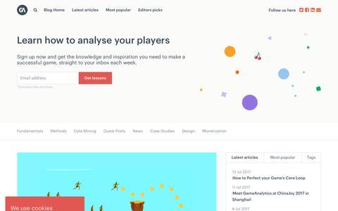 Screenshot of Blog gameanalytics.com - GameDev News, Tutorials & Interviews - GameAnalytics - captured July 23, 2017