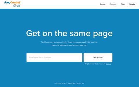 Screenshot of Home Page glip.com - Team Messaging   Glip - captured Feb. 10, 2017