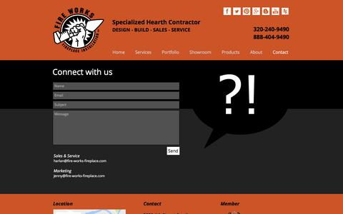 Screenshot of Contact Page fire-works-fireplace.com - Contact | Fire Works Fireplace | 320.240.9490 | MN - captured June 6, 2017