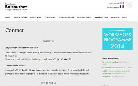 Screenshot of Contact Page boisbuchet.org - Contact | Domaine de Boisbuchet - captured Oct. 6, 2014