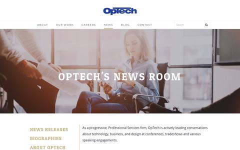 Screenshot of Press Page optechus.com - OpTech's News Room - We are OpTech - captured Jan. 19, 2018