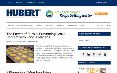 Screenshot of Blog hubert.com - The Power of Purple: Preventing Cross-Contact with Food Allergens - The Hubert Company Blog - captured Sept. 28, 2015