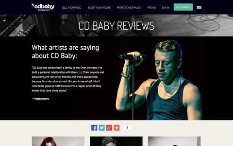 Screenshot of Testimonials Page cdbaby.com - CD Baby Testimonials and Reviews - captured Sept. 18, 2014