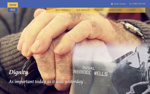 Screenshot of Home Page terrablu.co.uk - Welcome: Terrablu Home Care provides care at home in Tunbridge Wells, Sevenoaks, Tonbridge | Terrablu - captured May 29, 2019