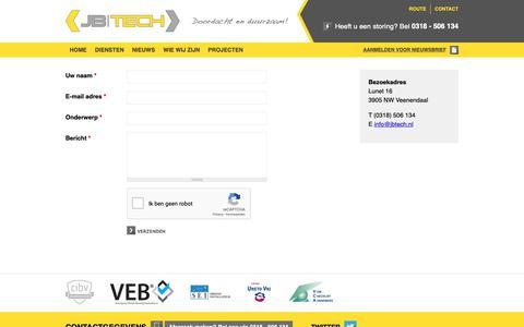 Screenshot of Contact Page jbtech.nl - Contact   JB Tech - captured Sept. 30, 2018