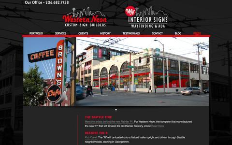 Screenshot of Press Page westernneon.com - Press | Western Neon Custom Signs - captured Oct. 9, 2014