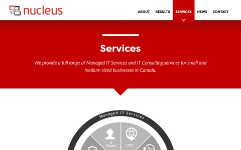 Screenshot of Services Page yournucleus.ca - Services | Nucleus, Managed IT Services Across Canada - captured Oct. 19, 2018