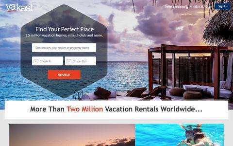 Screenshot of Home Page vakast.com - Vacation Rentals, Homes, Villas, Cabins, Rooms for Rent | Vakast.com - captured Oct. 1, 2015