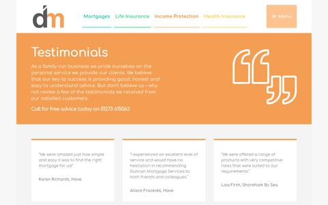 Screenshot of Testimonials Page duncan-mortgages.co.uk - Testimonials - Duncan Mortgages - captured Oct. 13, 2017