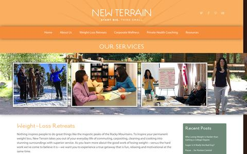 Screenshot of Services Page new-terrain.com - our services | new terrain:  weight loss retreat, corporate wellness, health coaching | new terrain: colorado health & wellness - captured Oct. 26, 2014