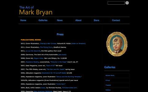 Screenshot of Press Page artofmarkbryan.com - Mark Bryan, artist, Press, articles, interviews, reviews - captured Sept. 30, 2014
