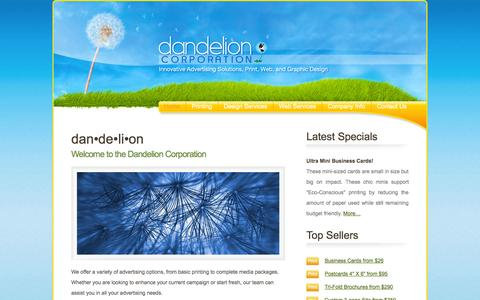 Screenshot of Home Page dandelioncorporation.com - Dandelion Corporation - captured Sept. 26, 2014