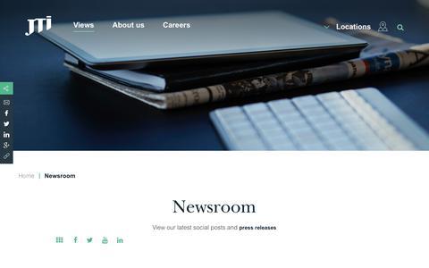 Screenshot of Press Page jti.com - Newsroom | Japan Tobacco International – a global tobacco company - captured Feb. 8, 2018