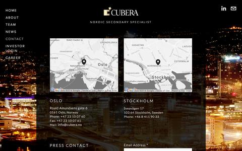 Screenshot of Contact Page cubera.no - Contact — Cubera Private Equity - captured Feb. 1, 2016