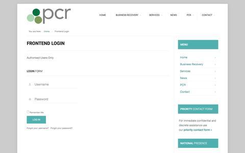 Screenshot of Login Page pcrllp.co.uk - PCR | Frontend Login - captured March 2, 2016
