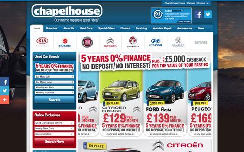 Screenshot of Home Page chapelhouse.co.uk - Chapelhouse | New & Used Cars in St Helens, Warrington, Southport - captured Oct. 2, 2014