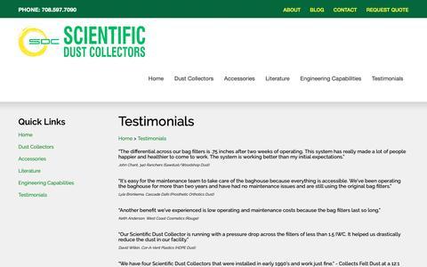 Screenshot of Testimonials Page scientificdustcollectors.com - Testimonials - captured Dec. 8, 2018