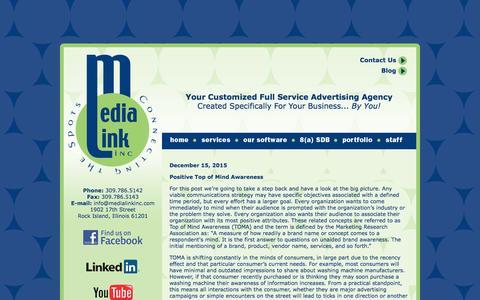 Screenshot of Blog medialinkinc.com - Welcome to Media Link, Inc. (309) 786-5142 - Rock Island, Illinois - captured Jan. 9, 2016