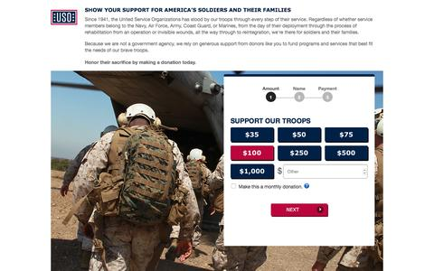 Screenshot of Landing Page uso.org - Donate | USO.org - captured March 15, 2017