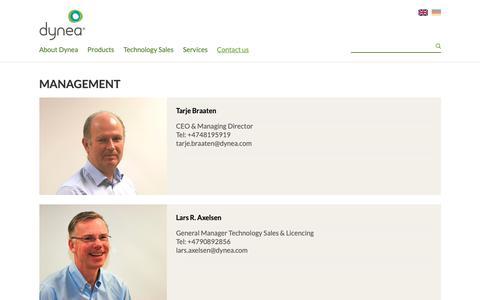 Screenshot of Team Page dynea.com - Management - captured Oct. 9, 2018