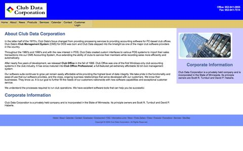 Screenshot of About Page clubdata.com - About Us - captured Oct. 3, 2014