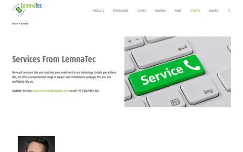 Screenshot of Services Page lemnatec.com - LemnaTec support and maintenance   LemnaTec - captured July 18, 2018
