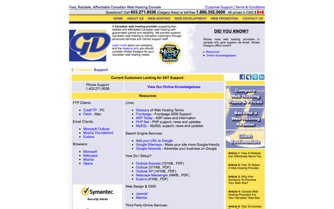 Screenshot of Support Page globaldesigns.ca - Canadian Web Hosting Provider Calgary: Calgary Canada Web Hosting - ASP, PHP, Ecommerce, SQL & More - captured Nov. 7, 2016