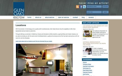 Screenshot of Locations Page glenoaksescrow.com - Locations | Glen Oaks Escrow - captured Sept. 30, 2014