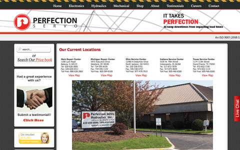 Screenshot of Locations Page perfectionservo.com - Locations - captured June 24, 2017