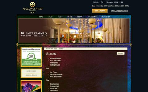 Screenshot of Site Map Page nagaworld.com - Sitemap |  NagaWorld Hotel & Entertainment Complex Phnom Penh - captured Nov. 5, 2014