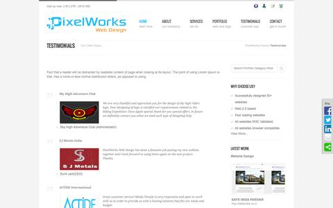 Screenshot of Testimonials Page pixelworkswebdesign.com - Web Design Testimonials- PixelWorks Web Design, Web Design, Web Development, E-Commerce Solutions, SEO Services - captured Sept. 29, 2014