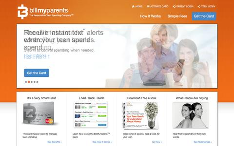 Screenshot of Home Page billmyparents.com - The BillMyParents Card - captured Sept. 13, 2014