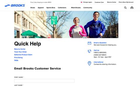 Screenshot of Contact Page brooksrunning.com - Contact Customer Service - captured Aug. 12, 2017
