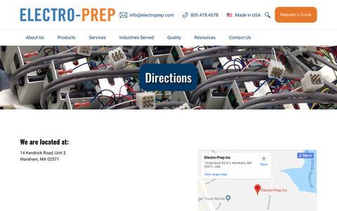 Screenshot of Maps & Directions Page electroprep.com - Directions - Electro-Prep, Inc. - captured Dec. 7, 2018