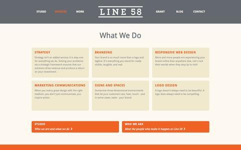 Screenshot of Services Page line58.com - What We Do · Line 58 - captured Sept. 30, 2014