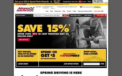 Screenshot of Login Page advanceautoparts.com - Advance Auto Parts: Your Account - captured May 18, 2017