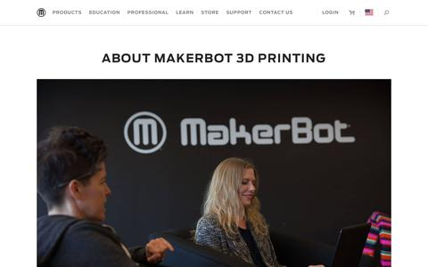 Screenshot of About Page makerbot.com - About MakerBot - Desktop 3D Printers - Desktop 3D Printing - captured June 12, 2018