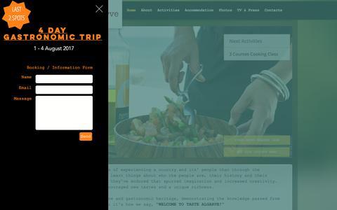 Screenshot of Home Page tastealgarve.com - Cooking courses in Algarve | Tavira | Taste Algarve - captured June 16, 2017