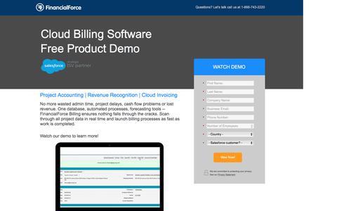 Screenshot of Landing Page financialforce.com - Cloud Billing Software - captured July 19, 2016
