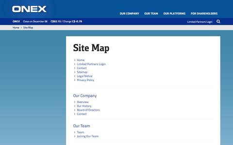 Screenshot of Site Map Page onex.com - ONEX | Site Map - captured Dec. 6, 2016